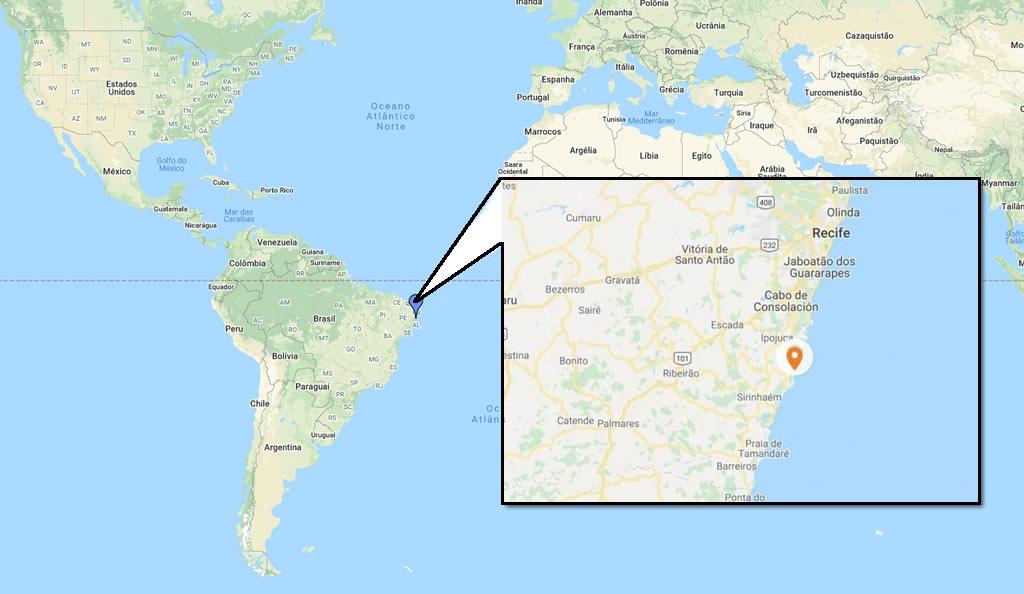 Mapa de Porto de Galinhas, Pernambuco. O tempo