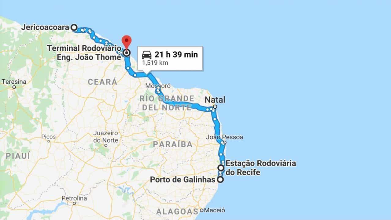 How to get from Jericoacoara to Porto de Galinhas