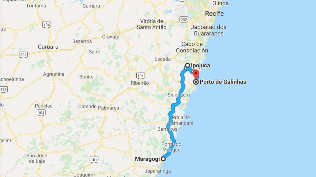 How to get from Maragogi to Porto de Galinhas