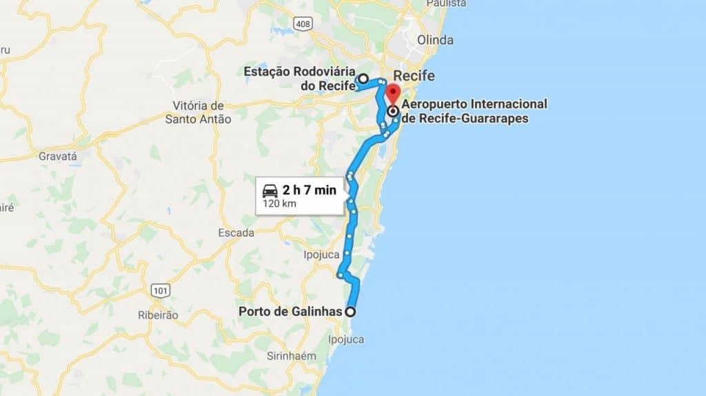 How to get from Recife bus station to Porto de Galinhas