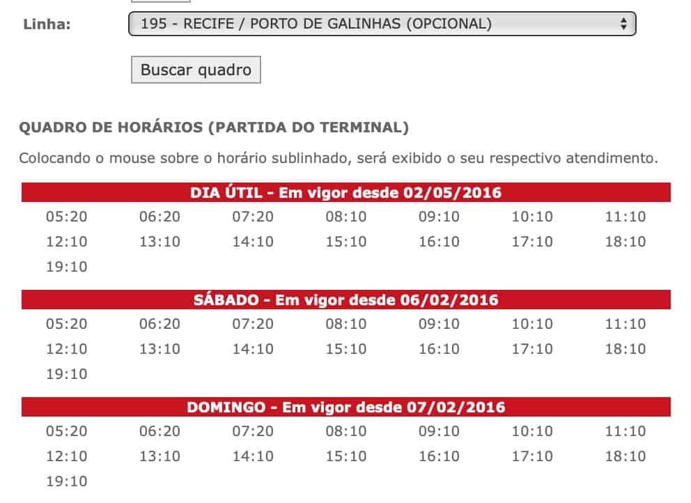 Horario onibus 195 Recife a Porto de Galinhas