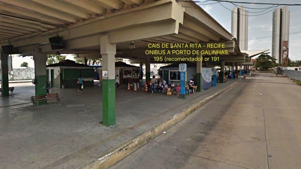 Parada de onibus de Recife a Porto de Galinhas - Cais de Santa Rita